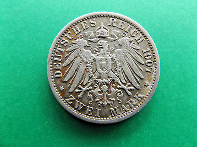 Germany 1907A 2 Mark Prussia Silver Coin