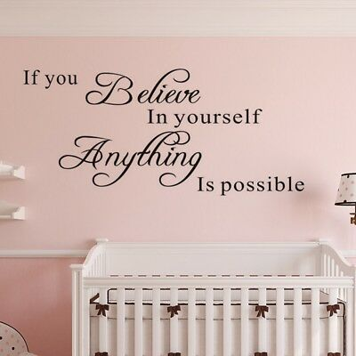 """Inspirational Quote Home Wall Decor Sticker Decal Mural Art """"If You Believe ..."""""""