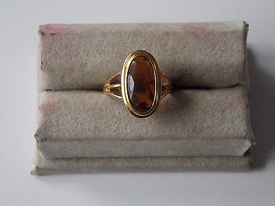 Avon Ring- Oval Amber/Topaz Color Stone Gold Plated Size 6 3/4