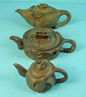 Three Vintage Chinese Hand Carved Clay Miniature 'Organic Form' Teapots