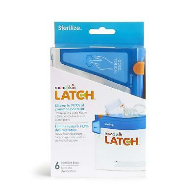 Munchkin Latch Steriliser Bags Pack of 6 Holiday 180 uses! Baby Bottle Teats FAS