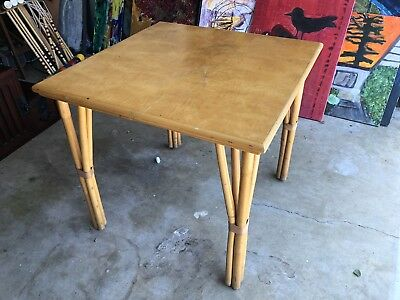 Vintage Bamboo Rattan Dining Table