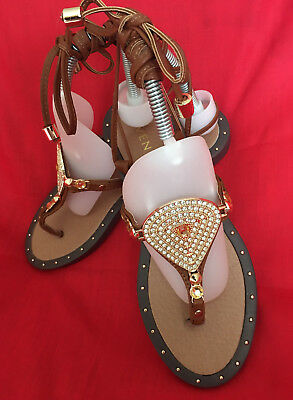 db1f8d0b7 New VENUS Thong Lace up Jeweled Flat women sandals. Brown Leather. Sz-8M