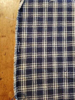 Antique 1800s Early Old 19th C Blue & White Homespun Pc Piece Fabric Runner Mat