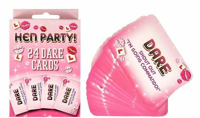 24pc Pink Dare Cards Hen Party Filler Bride Girls Night Out Novelty Game Jokes