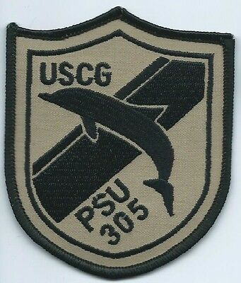USCG United States Coast Guard PSU 305 Dolphin patch 3-1/2 X 3 black/beige