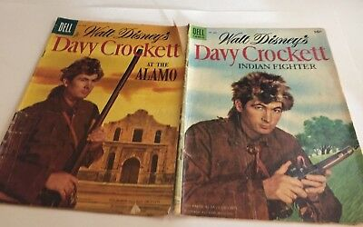 Davy Crockett at the Alamo and Indian Fighter Comic Books 1955 # 631 and # 639