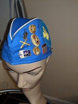 Russian Soviet USSR Army Military Forage Cap With lots of Badges