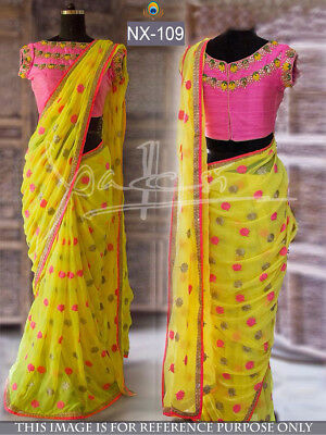 Bollywood Designer saree Wedding Indian Party Wear  Ethnic saree with Blouse