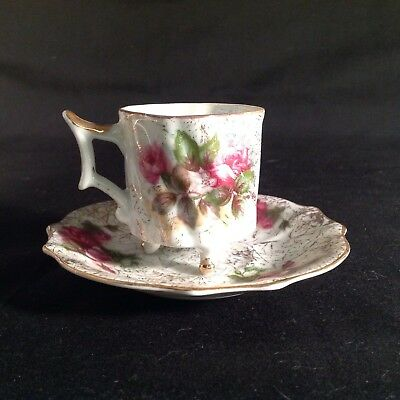 demitasse cup and saucer Floral Gold Trim
