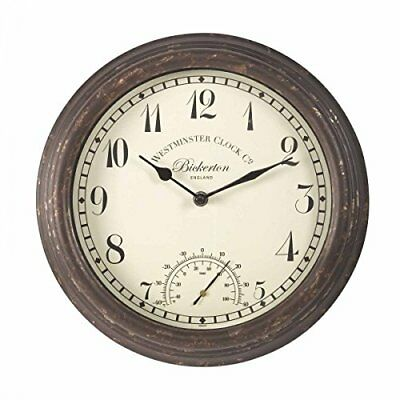 Bickerton Wall Clock and Thermometer, Classic Outdoor/Indoor Design with Large