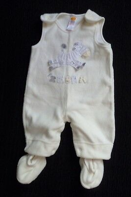 Baby clothes UNISEX BOY GIRL 0-3m cute cream/grey zebra fleecy dungarees/bootees