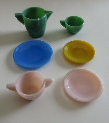 Vintage Akro Agate Child's Glass Green Pink Luster Yellow Blue Cup Plate Pitcher