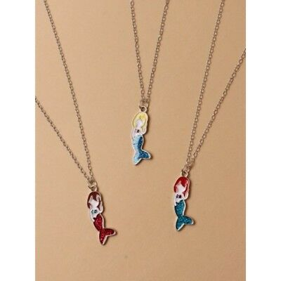 Pack of 3 Mermaid Necklaces Childrens Kids Girls Jewellery Party Gift UK