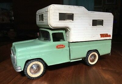 Vintage 1960s Tonka No. 530 Camper Truck Pressed Steel Toy Mint Green