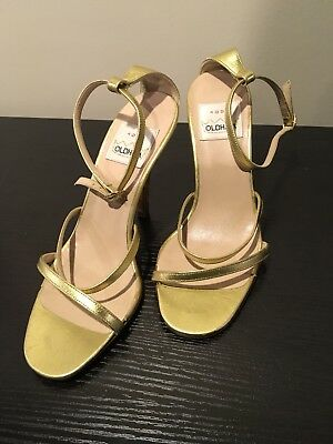 82fb49ff91cc Vintage Todd Oldham Metallic Gold Strappy Sandals Heels 36 5.5 Made In Italy