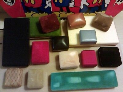 Vintage Pre owned Jewelry Presentation Boxes Lot Of 15 Leather Velvet Tapistry