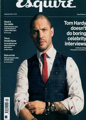 British Esquire UK Magazine September 2018: TOM HARDY COVER STORY & FEATURE