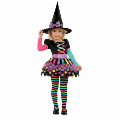 Girls Miss Matched Neon Witch Costume - Age 3-4 Years
