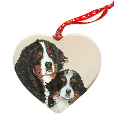 Bernese Mountain Dog Porcelain Heart Ornament
