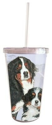 Bernese Mountain Dog Tumbler with Straw, Double Wall, 16 Ounces Acrylic Tumbler,