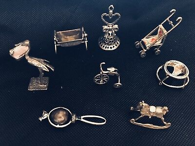 birth lot 8 objects in solid Silver 800 miniature Microfusion italy doll house s