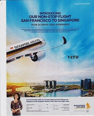SINGAPORE airline 2015 magazine ad clipping print page - NON STOP San Francisco