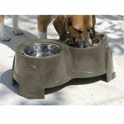 Raised Dog Big Stainless Bowls Feeding Station Water Food Twin