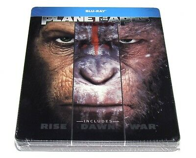 Planet Of The Apes Trilogy Steelbook Blu-Ray Limited Edition Import Release New