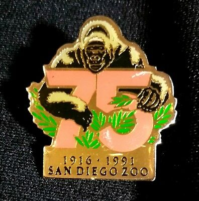 "San Diego Zoo 75 Years Lapel Or Hat Pin 1916-1991 Gorilla Design 1.25"" X 1"""