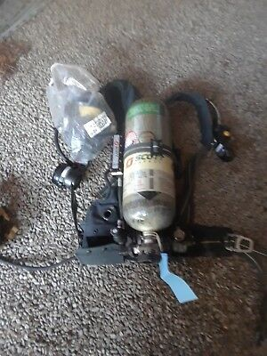 Scott scba, air pack complete with buddy system, 2 mask, one tank, and pass dev.
