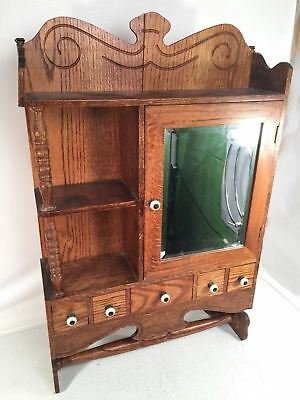 Antique Medicine Cabinet Beveled Mirror Apothecary Drawer Victorian Bath Shelves