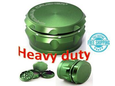 Chromium Crusher Drum 2.5 Inch 4 Piece Tobacco Spice Herb Grinder -Groovy Green