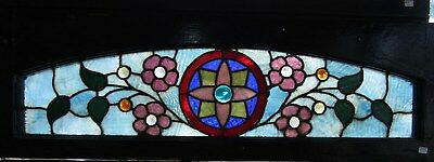 Victorian Stained And Jeweled Floral Arch Window - 12 By 37