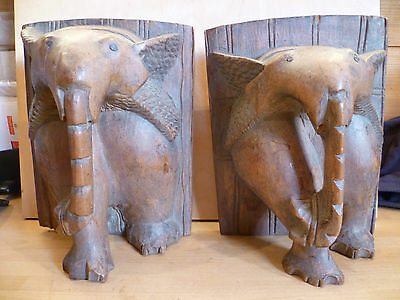 Antique Pair Of African Carved Hardwood Elephant Bookends. Hand Carved Elephants