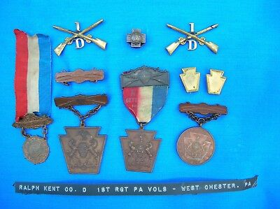 Vintage Pennsylvania National Guard Medals and SpanAm medal
