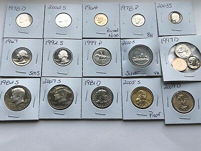 Mixed Lot of 15 US BU & Proof DCAM Coins Silver Dime Quarter Kennedy Dollar