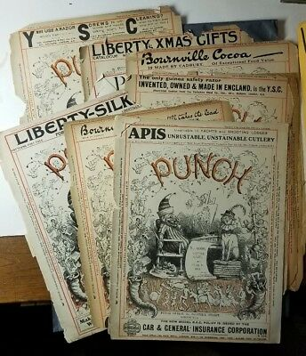 1916-1919 ANTIQUE PAPER Century Old PUNCH British England Magazine COVERS ADS