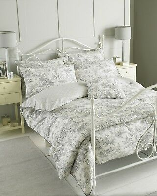 100% Cotton Canterbury Tales Toile De Jouy Traditional Duvet Cover Set in Grey