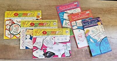 Vintage VOGART Embroidery or Painting Repeat Transfer Patterns Lot of 6