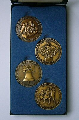 USA Bicentennial 4 Medal Commemorative Set 1776-1976 with box, Independence