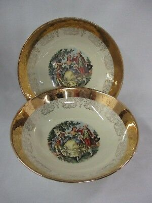 "Set of 2 Sabin Crest-O-Gold 22k Rimmed Bowl 9"" Round Courting Couple (CI)"