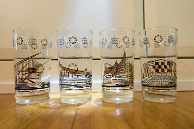 Collector glass set - Canada Montreal Expo 1967 - Germany, USSR, Israel, Italy