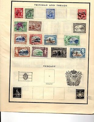 Trinidad and Tobago 13 stamps vf used 1914-41 from an old scott album