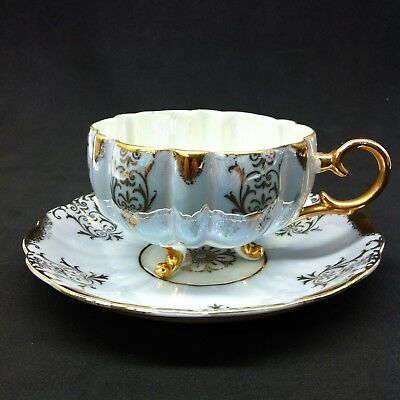 Vintage LM Royal Halsey Very Fine Footed Cup & Saucer Blueish Silver Gold  LB-3