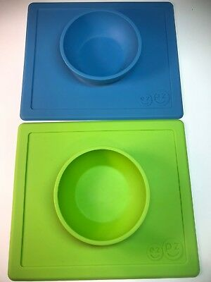 Lot of 2-EZPZ Happy Mat One-piece Silicone Placemat+ Bowl Reusable- Green & Blue