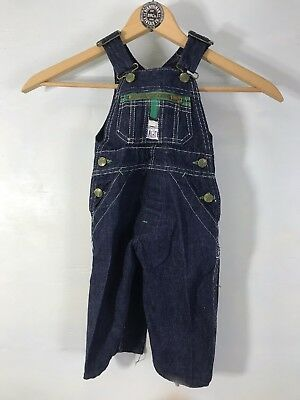 Vintage 60s Childs Liberty Overalls Unisex Blue Jean Denim waist 22""