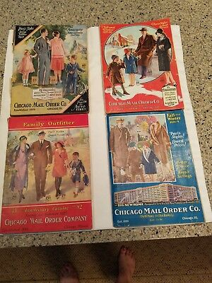 Lot of 4 CHICAGO MAIL ORDER Co CATALOGS 1925-1929 Awesome 1920s Fashion & More