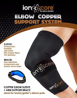 Copper Compression Elbow Support System: SLEEVE + BRACE from official ionocore®
