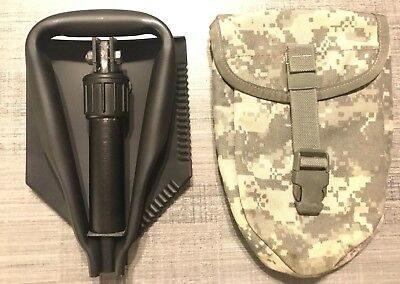 USGI AMES ENTRENCHING TOOL TRI FOLD SHOVEL WITH DESERT CAMO E TOOL POUCH COVER